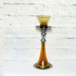 French Amber Glass Oil Lamp