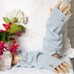 Soft Baby Blue Fingerless Mittens made from 100% Cashmere
