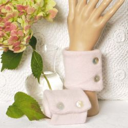 Blush Pink Cashmere Wrist Warmers with Mother Of Pearl Buttons