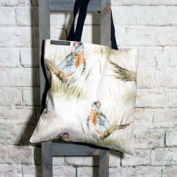 Shopping cum Tote Bag with Pheasant Pattern