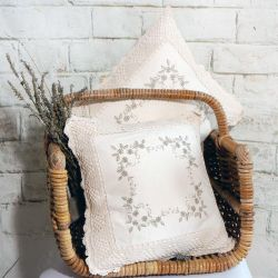 Cream 100% Cotton Scatter Cushion with Crochet Edging