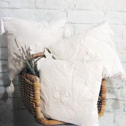 Clotted Cream Scatter Cushion with a Cream Flower Appliqué