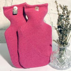 Deep Rose Pink Pure Cashmere Hot Water Bottle Cover