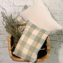 Calming Sage Green and Cream Check Design Cushion