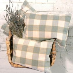Green and Cream Check Design Cushion