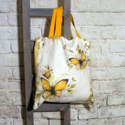Yellow Butterfly Shopping Tote Bag